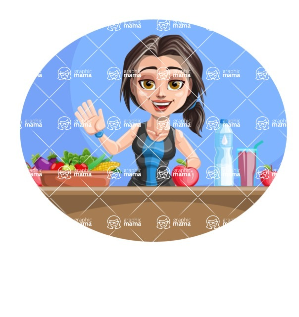Cute Fitness Woman Cartoon Vector Character AKA Marina - Shape 3