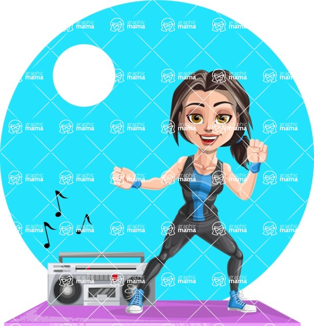 Cute Fitness Woman Cartoon Vector Character AKA Marina - Shape 6