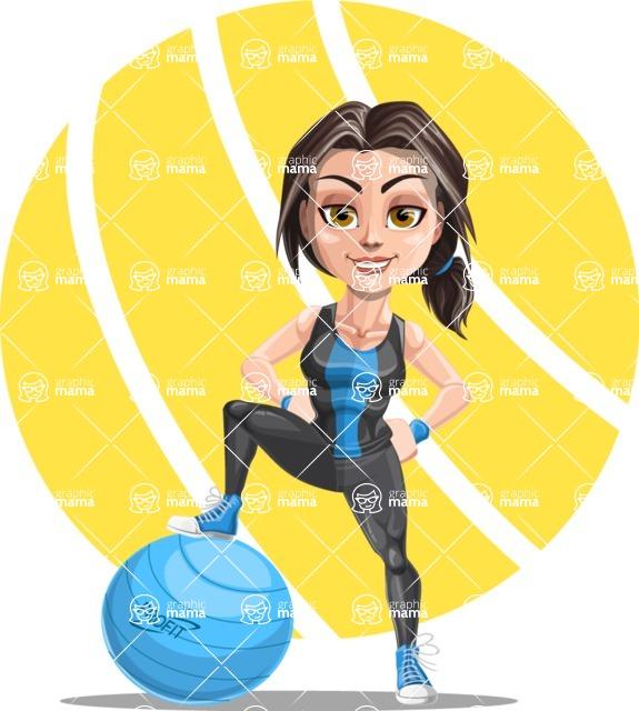 Cute Fitness Woman Cartoon Vector Character AKA Marina - Shape 8