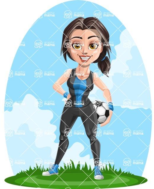 Cute Fitness Woman Cartoon Vector Character AKA Marina - Shape 12
