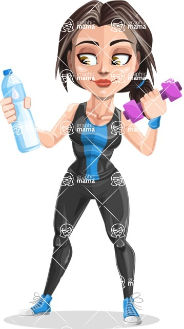 Cute Fitness Woman Cartoon Vector Character AKA Marina - Weight and bottle