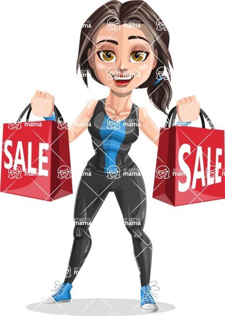 Cute Fitness Woman Cartoon Vector Character AKA Marina - Sale 2