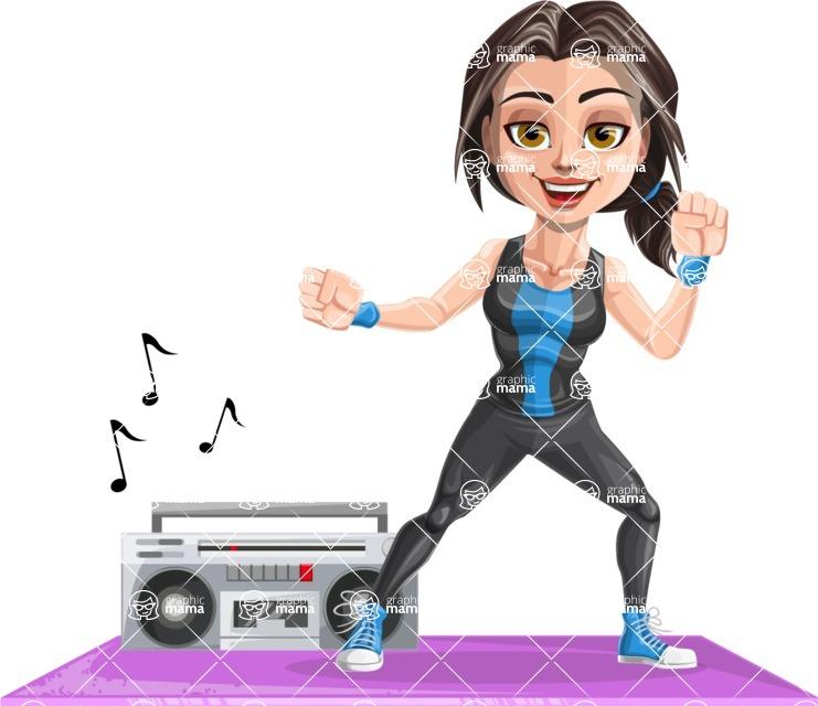 Cute Fitness Woman Cartoon Vector Character AKA Marina - Aerobics