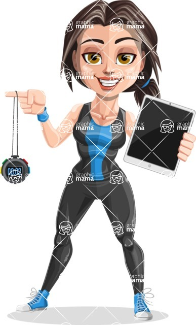 Cute Fitness Woman Cartoon Vector Character AKA Marina - Tablet and chronometer