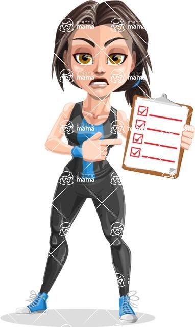 Cute Fitness Woman Cartoon Vector Character AKA Marina - Diet 1