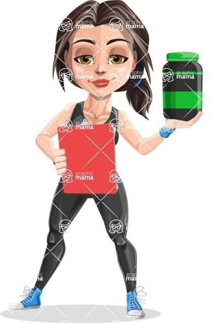 Cute Fitness Woman Cartoon Vector Character AKA Marina - Diet 3