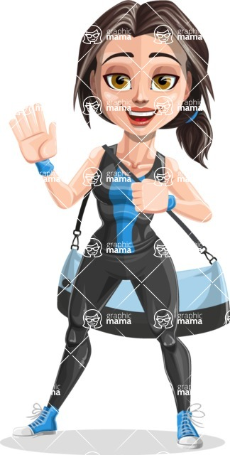 Cute Fitness Woman Cartoon Vector Character AKA Marina - Fitness bag 2