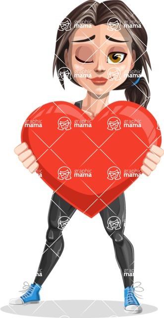 Cute Fitness Woman Cartoon Vector Character AKA Marina - Love