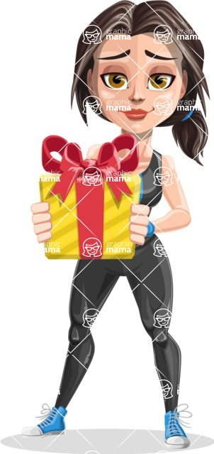 Cute Fitness Woman Cartoon Vector Character AKA Marina - Gift