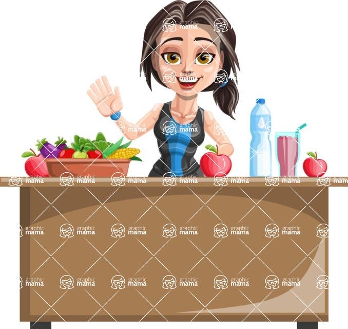 Cute Fitness Woman Cartoon Vector Character AKA Marina - Healthy food