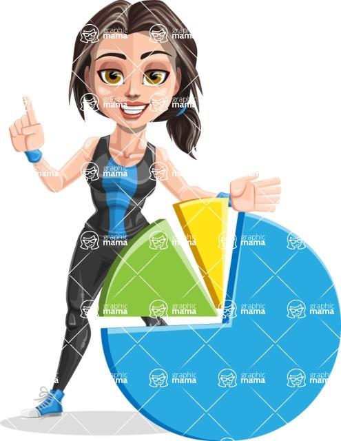 Cute Fitness Woman Cartoon Vector Character AKA Marina - Chart