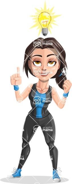 Cute Fitness Woman Cartoon Vector Character AKA Marina - Idea 2