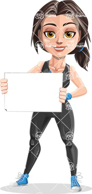 Cute Fitness Woman Cartoon Vector Character AKA Marina - Sign 3