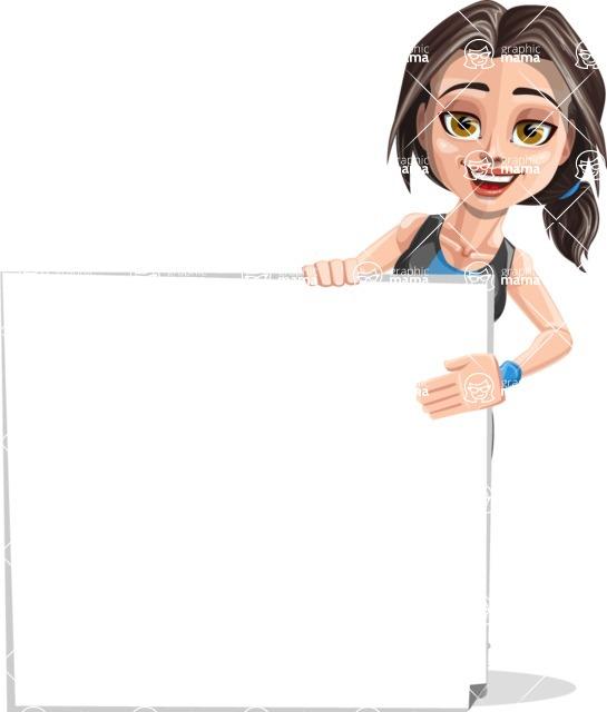 Cute Fitness Woman Cartoon Vector Character AKA Marina - Sign 8