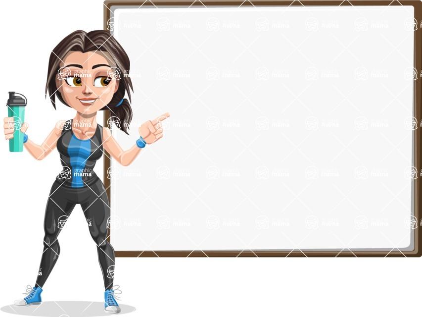 Cute Fitness Woman Cartoon Vector Character AKA Marina - Presentation 4