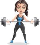 Cute Fitness Woman Cartoon Vector Character AKA Marina - Big Weights