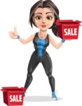 Cute Fitness Woman Cartoon Vector Character AKA Marina - Sale