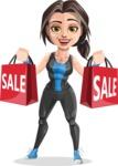 Cute Fitness Woman Cartoon Vector Character AKA Marina - Sale 2