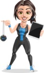 Cute Fitness Woman Cartoon Vector Character AKA Marina - Tablet and chronometer