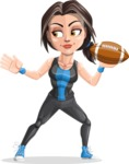 Cute Fitness Woman Cartoon Vector Character AKA Marina - American football