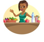 African American Fitness Girl Cartoon Vector Character AKA Alicia - Shape 3