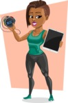 African American Fitness Girl Cartoon Vector Character AKA Alicia - Shape 10