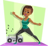 African American Fitness Girl Cartoon Vector Character AKA Alicia - Shape 11