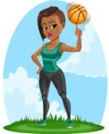 African American Fitness Girl Cartoon Vector Character AKA Alicia - Shape 12