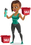 African American Fitness Girl Cartoon Vector Character AKA Alicia - Sale