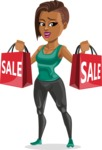 African American Fitness Girl Cartoon Vector Character AKA Alicia - Sale 2