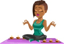 African American Fitness Girl Cartoon Vector Character AKA Alicia - Yoga 2