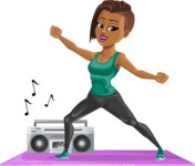 African American Fitness Girl Cartoon Vector Character AKA Alicia - Aerobics