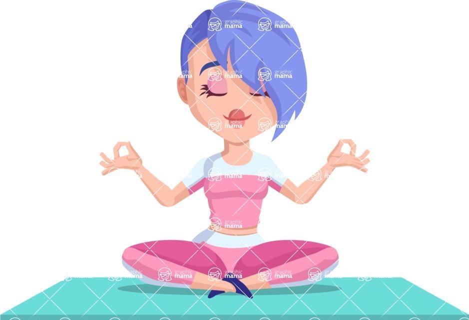 Flat Fitness Girl Cartoon Vector Character Yoga 2 Graphicmama