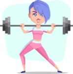 Flat Fitness Girl Cartoon Vector Character AKA Bridget MissFit - Shape 11