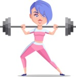 Flat Fitness Girl Cartoon Vector Character AKA Bridget MissFit - Big Weights 2