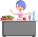 Flat Fitness Girl Cartoon Vector Character AKA Bridget MissFit - Healthy food
