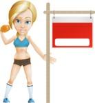 Blonde Sports Girl Cartoon Vector Character AKA Workout Meg - Presentation 2