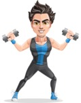 Handsome Fitness Man Cartoon Vector Character AKA Mitch - Weights