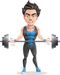 Handsome Fitness Man Cartoon Vector Character AKA Mitch - Big Weights