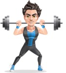 Handsome Fitness Man Cartoon Vector Character AKA Mitch - Big Weights 2