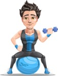Handsome Fitness Man Cartoon Vector Character AKA Mitch - Fitness ball 2