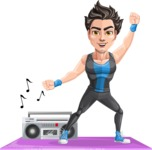 Handsome Fitness Man Cartoon Vector Character AKA Mitch - Aerobics