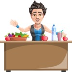 Handsome Fitness Man Cartoon Vector Character AKA Mitch - Healthy food