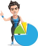 Handsome Fitness Man Cartoon Vector Character AKA Mitch - Chart