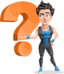 Handsome Fitness Man Cartoon Vector Character AKA Mitch - Question