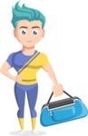 Flat Vector Sportsman Cartoon Vector Character AKA Don Bell - Fitness bag 1