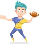 Flat Vector Sportsman Cartoon Vector Character AKA Don Bell - American football