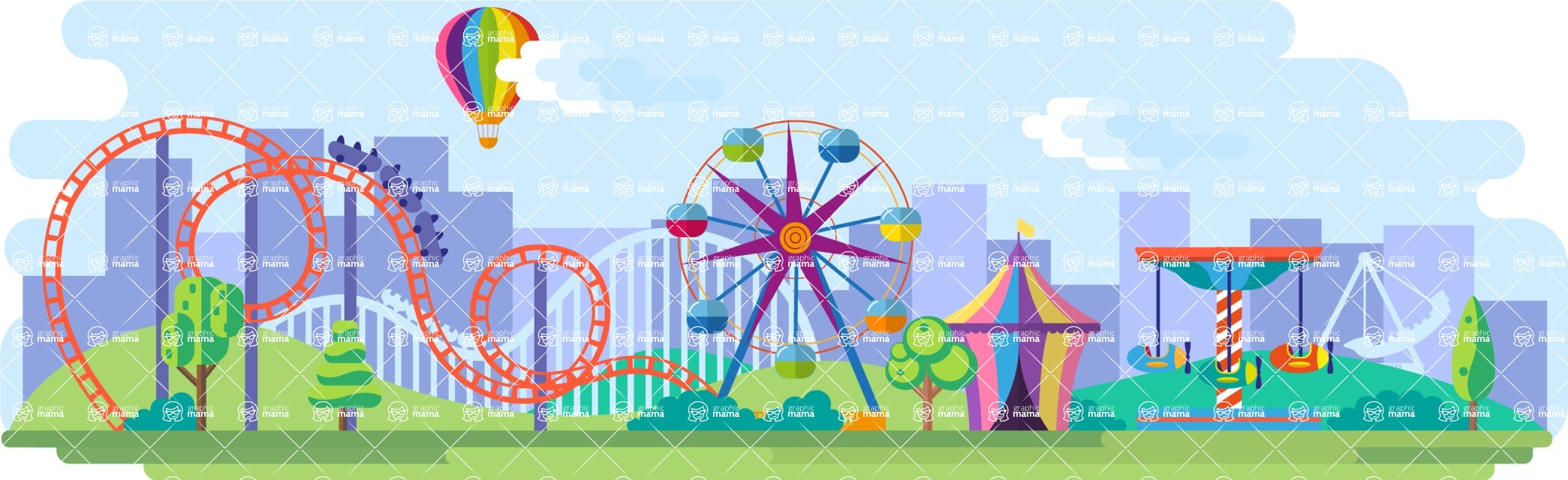 Amusement Park Wide Landscape