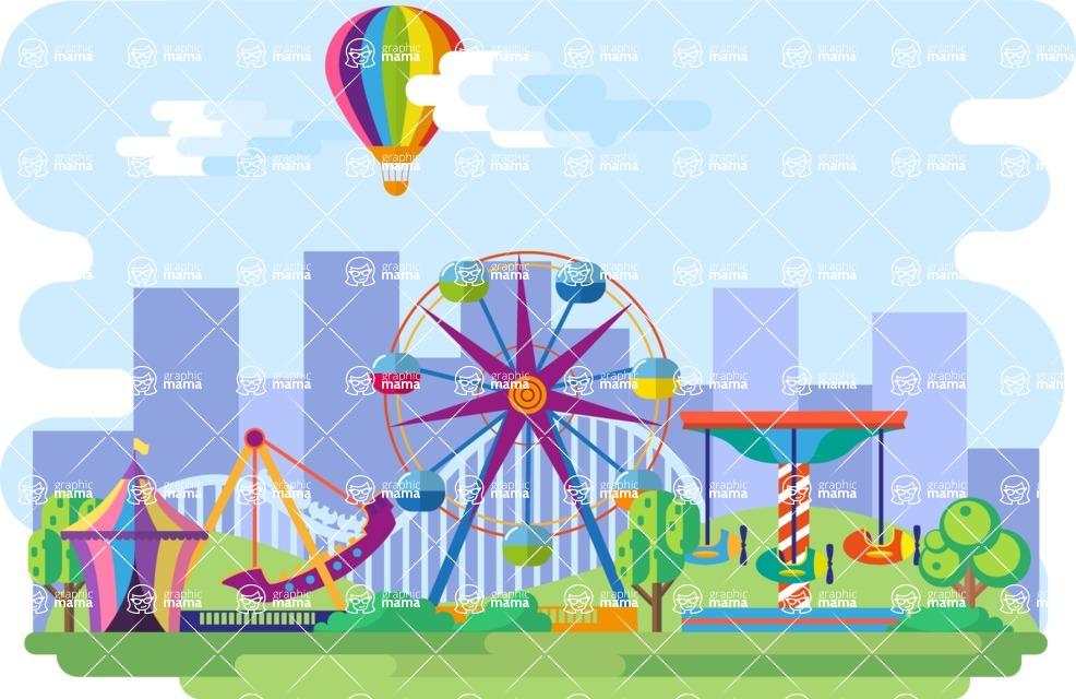 Amusement Park Narrow Landscape