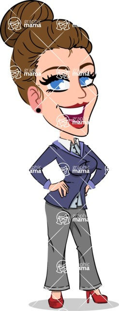 Simple Style cartoon of a Corporate Girl - Smiling
